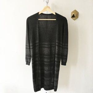 Theory Cotton Cashmere Open Duster Cardigan Gray